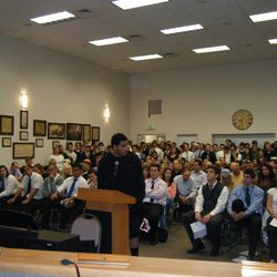 Former BYU running back and Timpview standout Harvey Unga speaks at the Provo School Board's meeting Tuesday.
