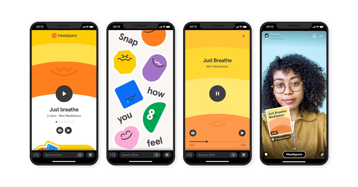 snapchat rolls out the first of its mini apps with meditations from headspace the verge mini apps with meditations