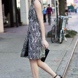 <b>Emerson Fry</b> Sheath Dress in Abstract Black, $325; Thin Strap Heel,$295