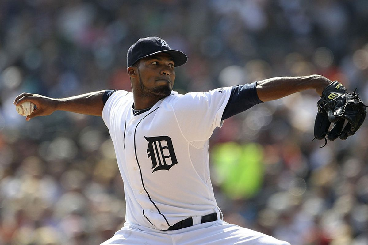 DETROIT - SEPTEMBER 25: Al Alburquerque #62 of the Detroit Tigers pitches in the sixth inning of the game against the Baltimore Orioles at Comerica Park on September 25, 2011 in Detroit, Michigan.