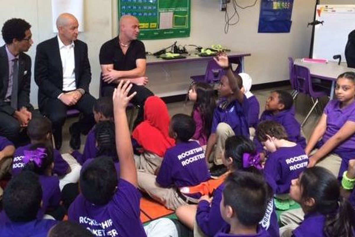 Tennis star and charter supporter Andre Agassi fields questions from fourth-graders last week at a Nashville charter school opened this fall by Rocketship. The California-based charter network has appealed a decision by Nashville's school board denying its request for further expansion.