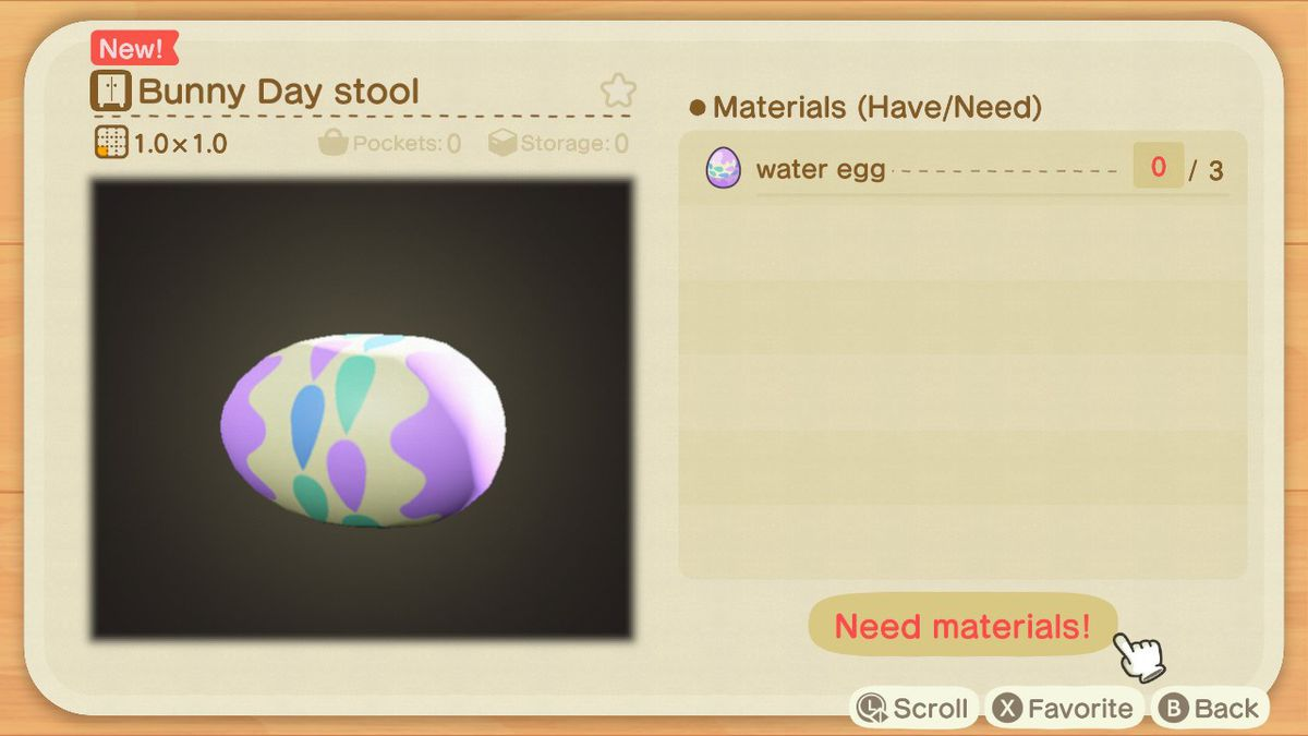 A crafting screen in Animal Crossing showing how to make a Bunny Day Stool