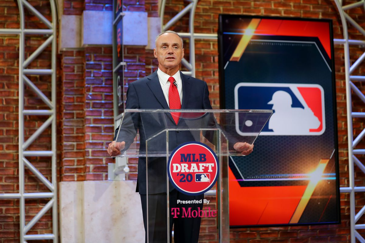 Major League Baseball Commissioner Robert D. Manfred Jr. makes an opening statement during the 2020 Major League Baseball Draft at MLB Network on Wednesday, June 10, 2020 in Secaucus, New Jersey.