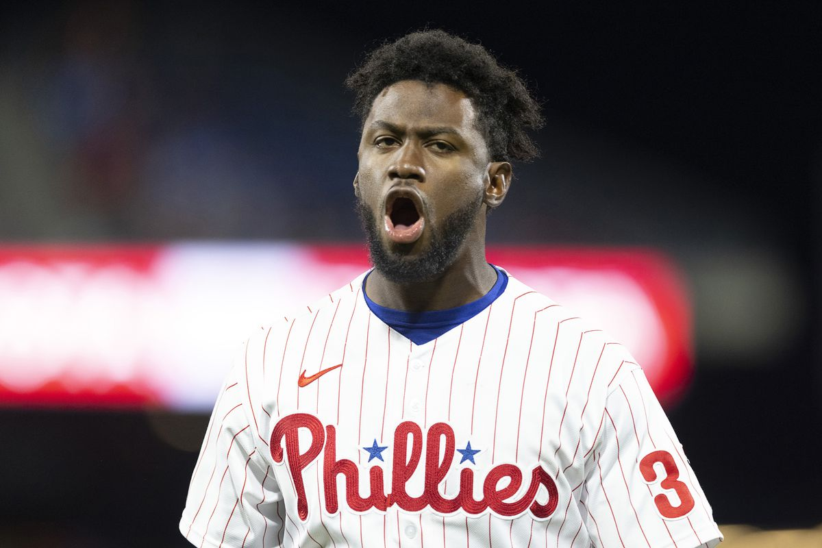 Odubel Herrera of the Philadelphia Phillies reacts after grounding out against the Baltimore Orioles in the bottom of the eight inning at Citizens Bank Park on September 20, 2021 in Philadelphia, Pennsylvania. The Baltimore Orioles defeated the Philadelphia Phillies 2-0.