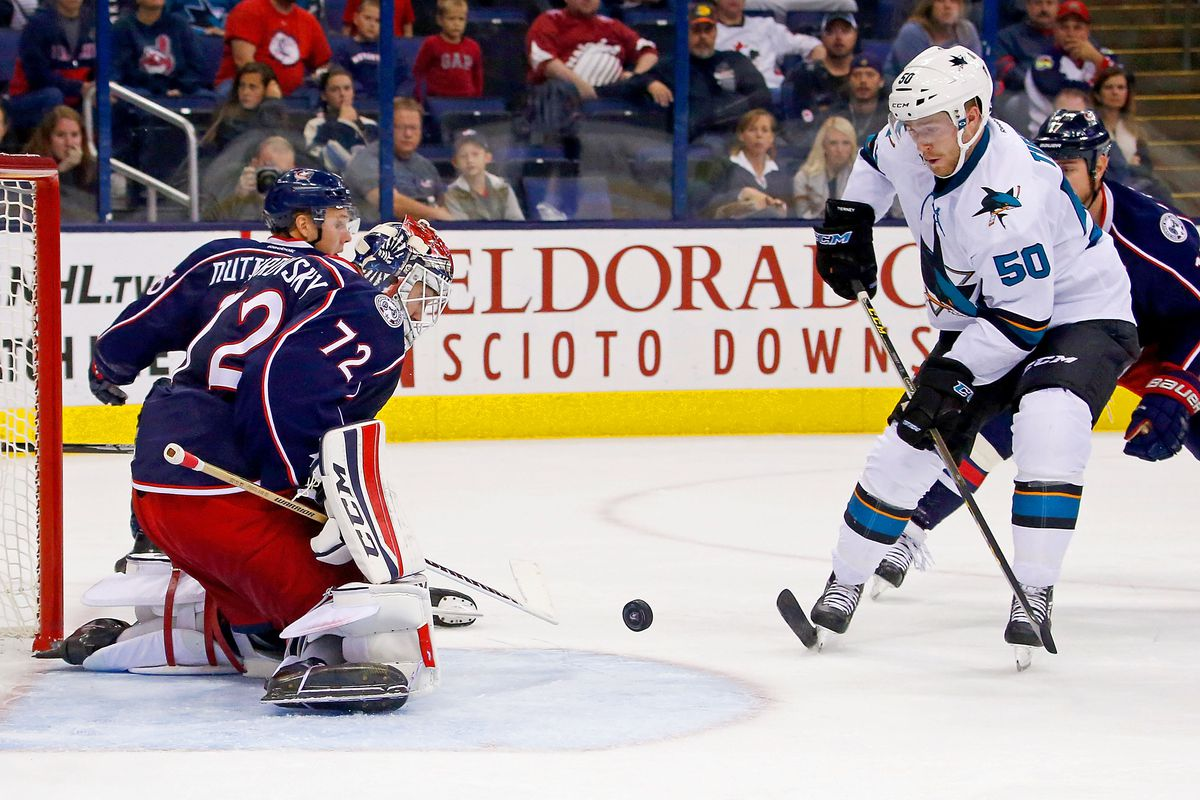 COLUMBUS, OH - OCTOBER 15: Sergei Bobrovsky #72 of the Columbus Blue Jackets stops a shot from Chris Tierney #50 of the San Jose Sharks during the third period on October 15, 2016 at Nationwide Arena in Columbus, Ohio. San Jose defeated Columbus 3-2.