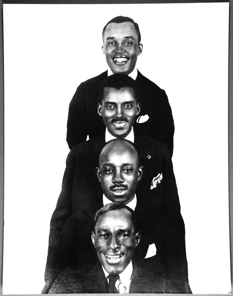 """Flournoy Miller (from the top), Noble Sissle, Eubie Blake and Aubrey Lyles in a publicity photo from the 1921 production of """"Shuffle Along,"""" the groundbreaking hit musical that brought Black entertainers to Broadway."""