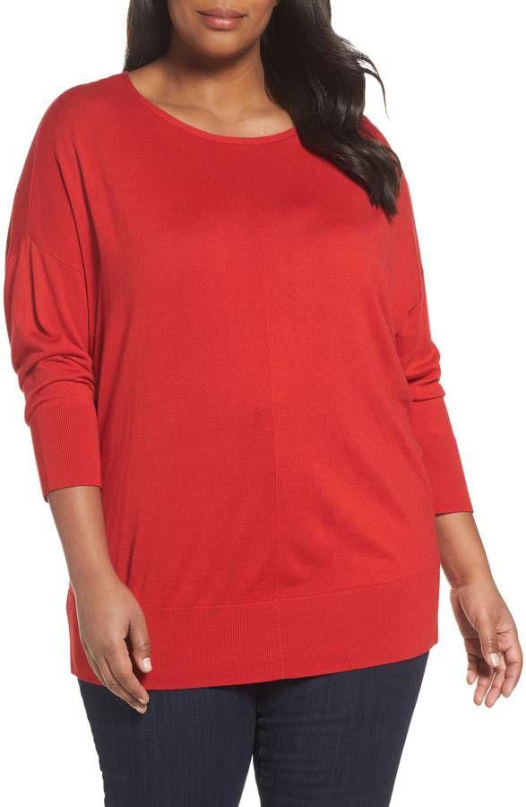 plus model in red sweater