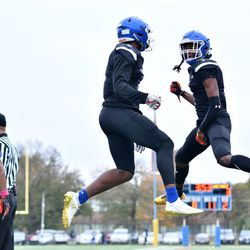 Phillips' Jahleel Billingsley (9) and Fabian McCray (7) celebrate after a touchdown. Worsom Robinson/For the Sun-Times.