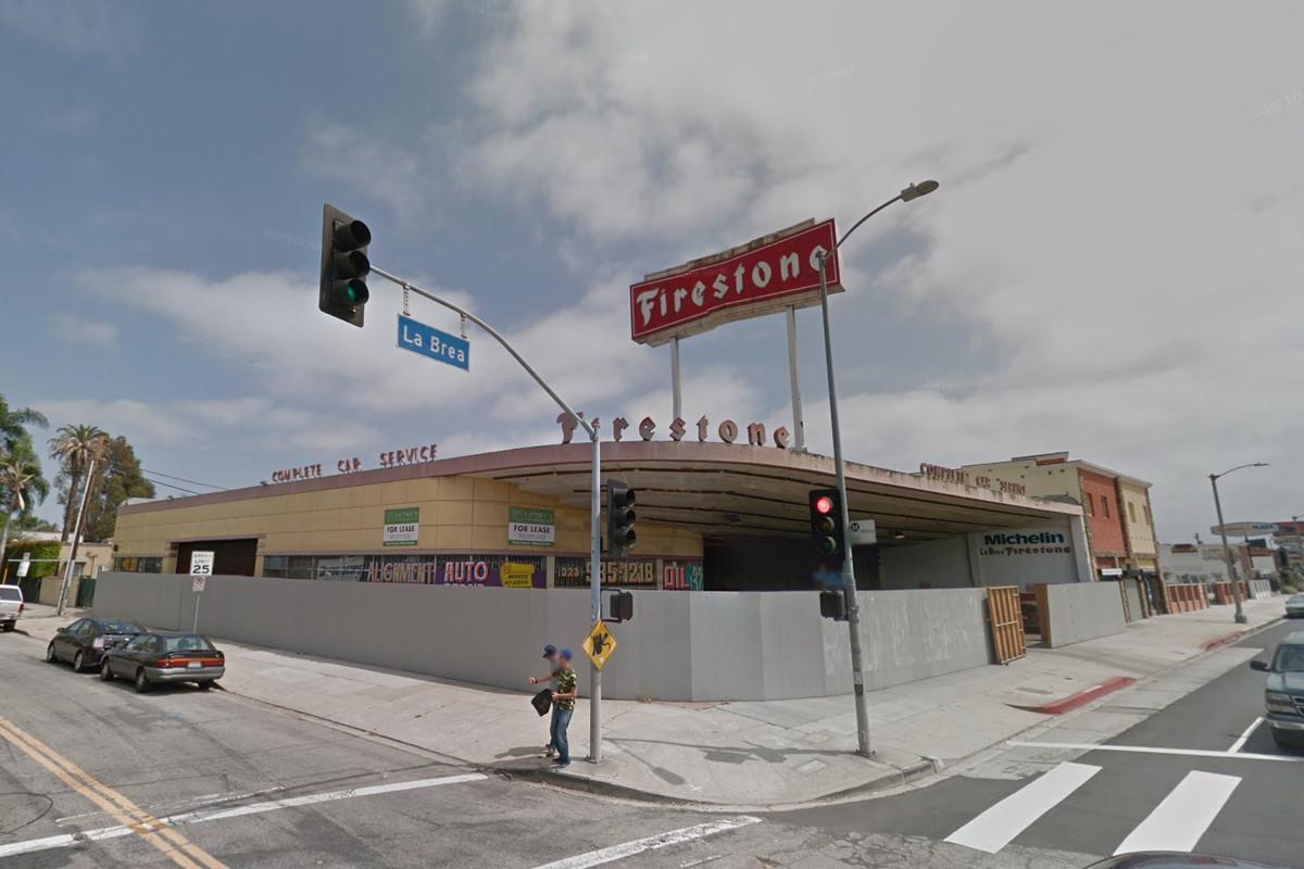 The Firestone Building art deco building on La Brea in Los Angeles.