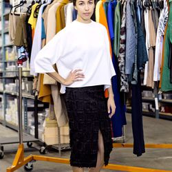 <b>Sasha Skoda</b>, Category Director, Women's, wearing a Céline Top, H&M skirt, Golden Goose sneakers, and a Cartier Trinity Ring<br><br> <b>What is your worst shopping habit?</b><br> I deliberate for so long on each and every purchase, so often times