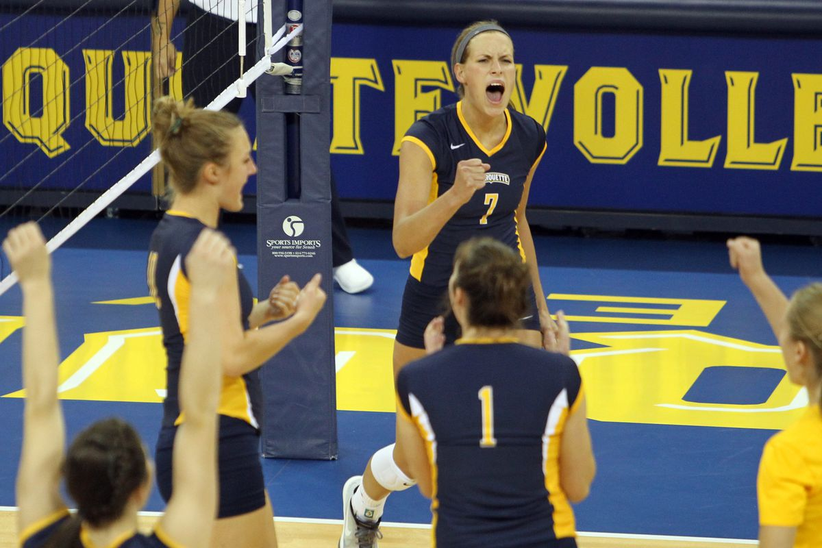 Meghan Niemann (#7) and Marquette are fired up to defend their Big East tournament crown.