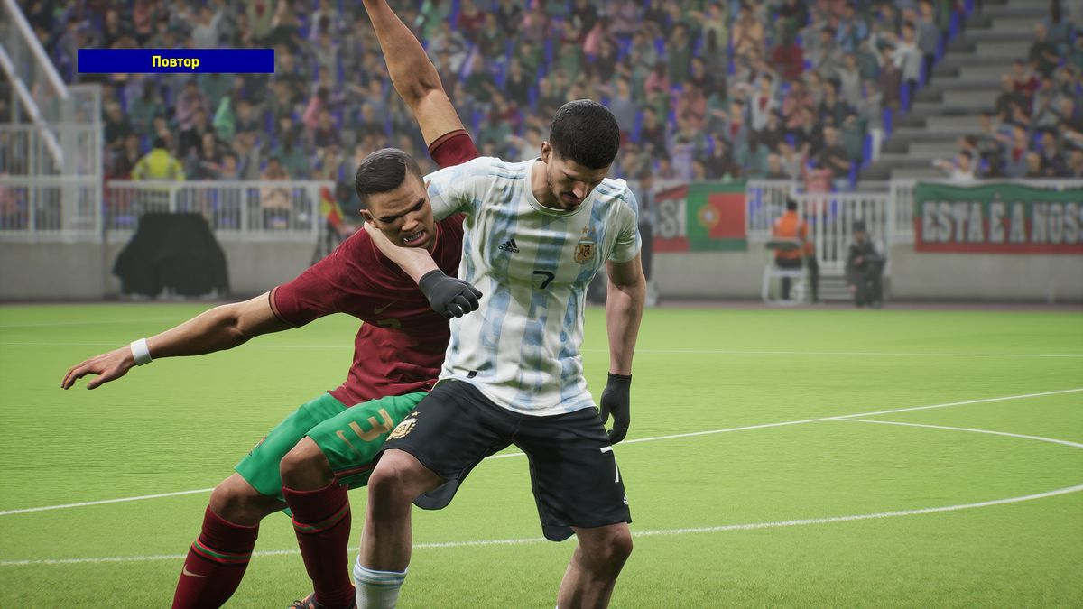 An Argentine player appears to have a Portuguese player in a headlock