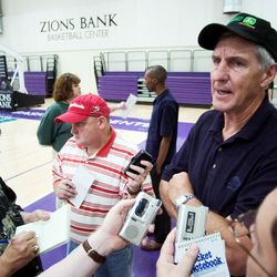 Coach Jerry Sloan talks with the media after a workout June 23, 2005, at the Zions Bank practice facility.