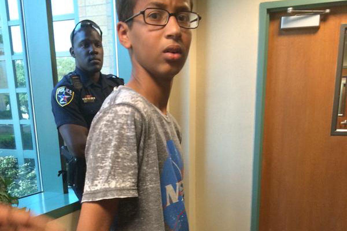 Ninth-grader Ahmed Mohamed being arrested in school.