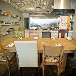 Diners can watch the activity in the open kitchen