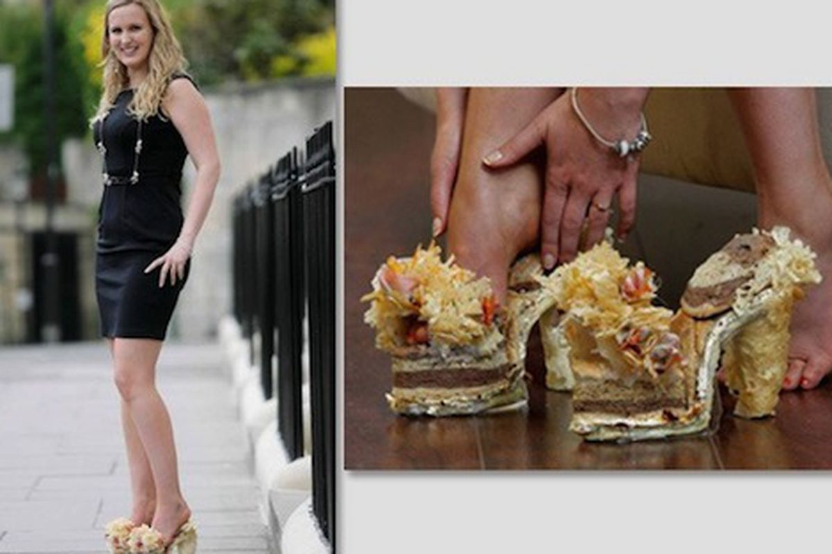 """Toe cheese, anyone? Image via <a href=""""http://www.stylelist.com/2011/04/15/shoe-made-of-cheddar-cheese-sandwiches/"""">StyleList</a>"""