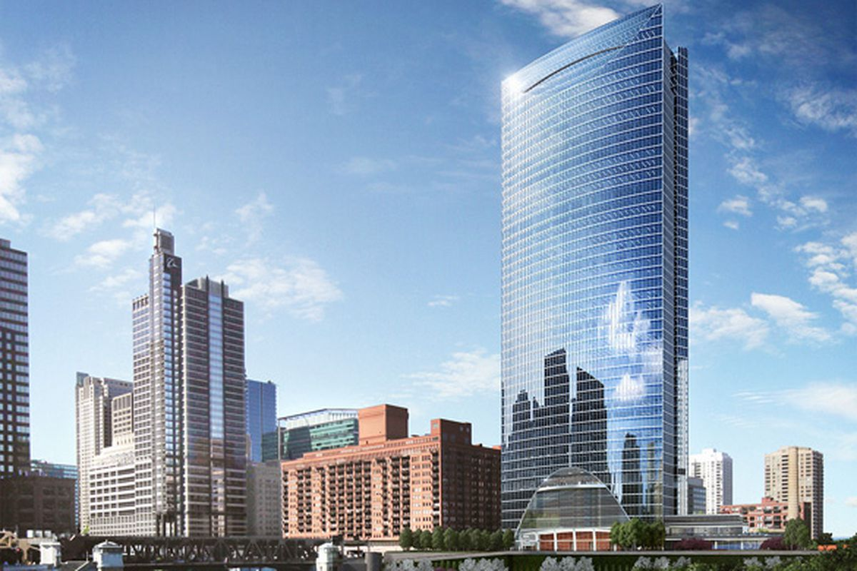 A rendering of the River Point Building