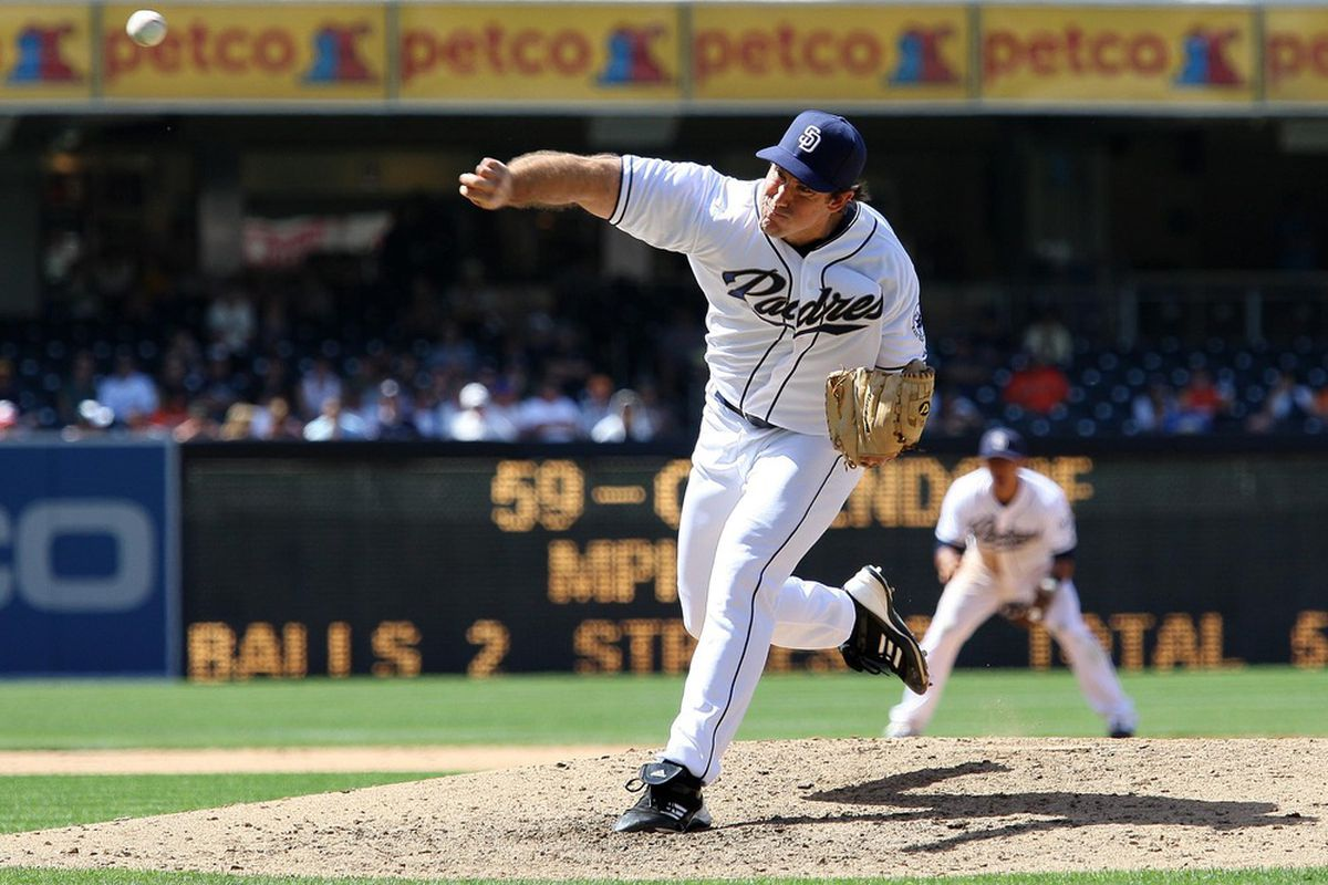 June 7, 2012; San Diego, CA, USA; San Diego Padres pitcher Ross Ohlendorf pitches during the ninth inning against the San Francisco Giants at PETCO Park. Mandatory Credit: Jake Roth-US PRESSWIRE
