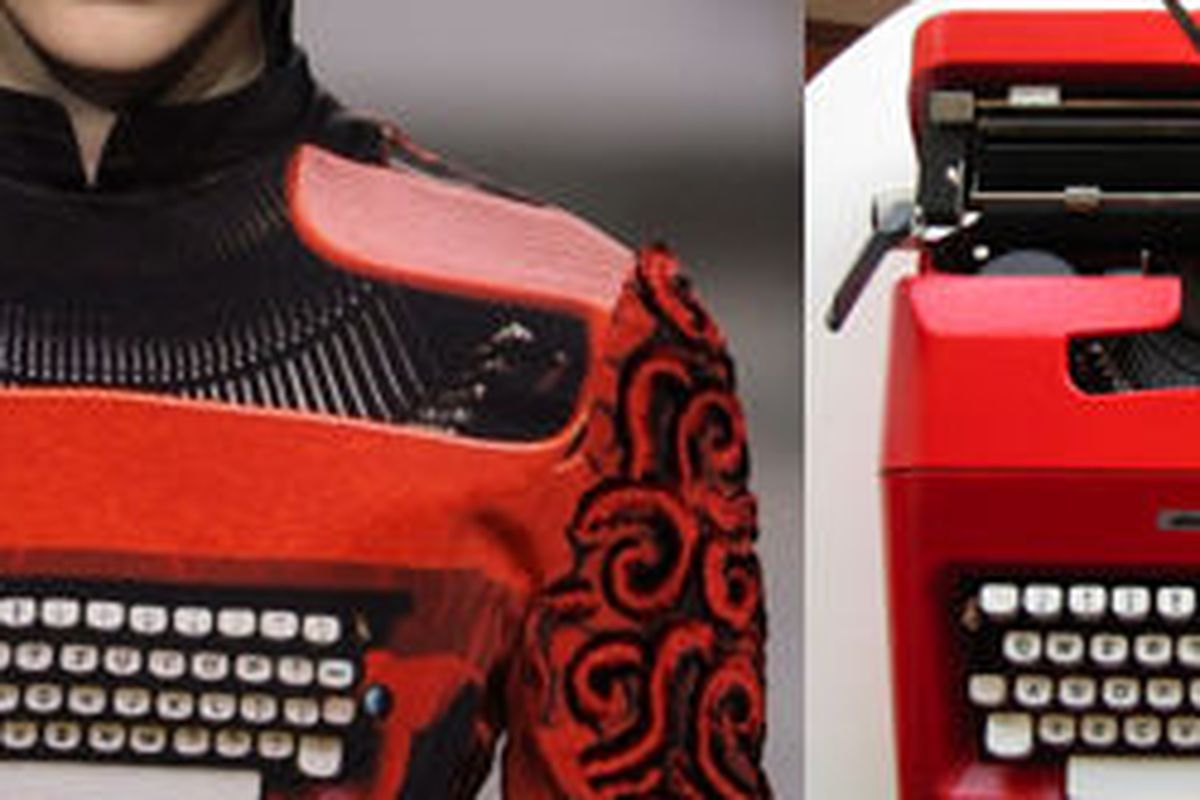"""Spitting images, via <a href=""""http://nymag.com/daily/fashion/2012/03/typewriter-collector-scores-free-katrantzou-dress.html"""">The Cut</a> and <a href=""""http://genevatypewriters.blogspot.com/2010/12/olivetti-lettera-35-revisited-and.html"""">Retro Tech Ge"""