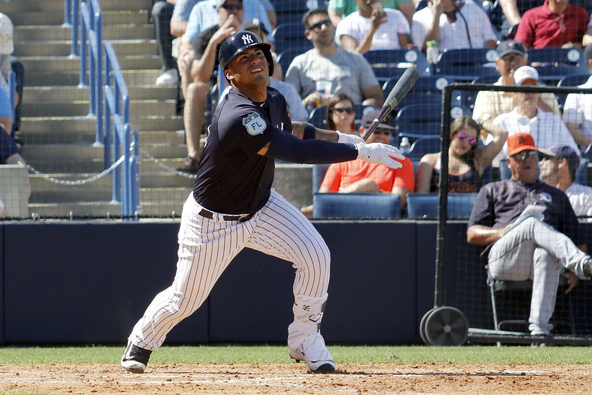 Gleyber Torres hits a solo home run in during a spring training game at George M. Steinbrenner Field on March 11, 2017 in Tampa, Florida.