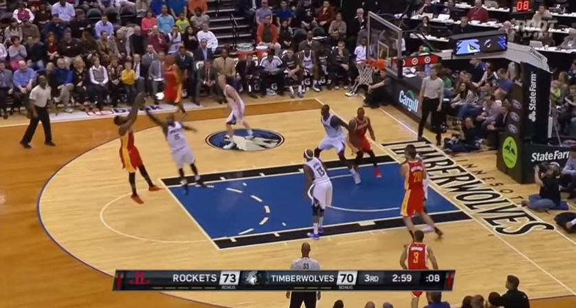 Harden's left foot hangs out