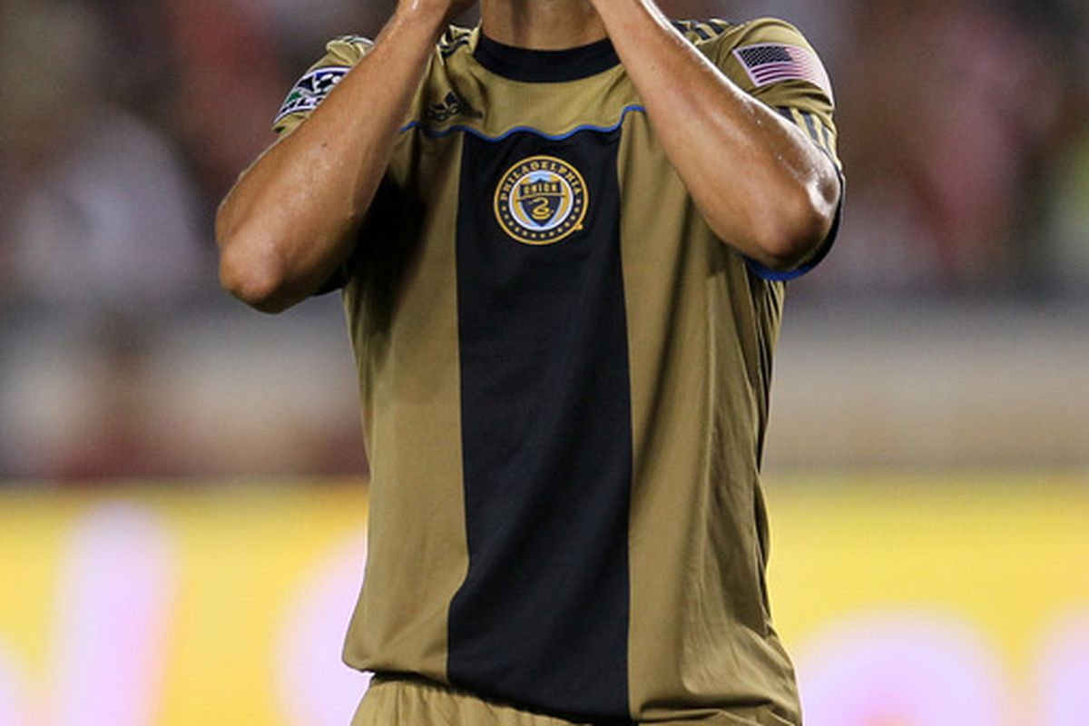 CARSON CA - JULY 3: Fred #7 of the Philadelphia Union reacts after his shot is blocked against Chivas USA on July 3 2010 at the Home Depot Center in Carson California.  The game ended in a 1-1 draw. (Photo by Stephen Dunn/Getty Images)