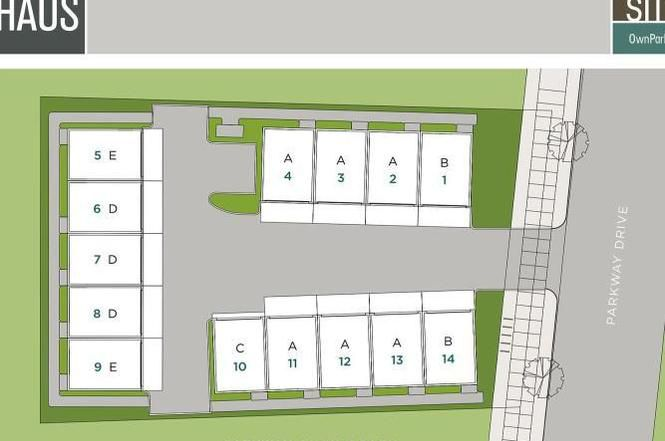 A site plan in green and gray.