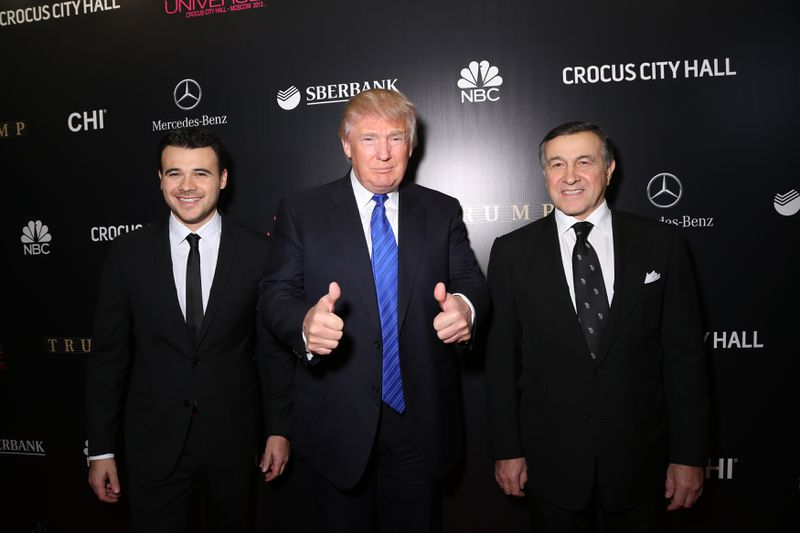 Emin Agalarov, Donald Trump and Aras Agalarov attend the red carpet at Miss Universe Pageant Competition 2013 on November 9, 2013 in Moscow, Russia.