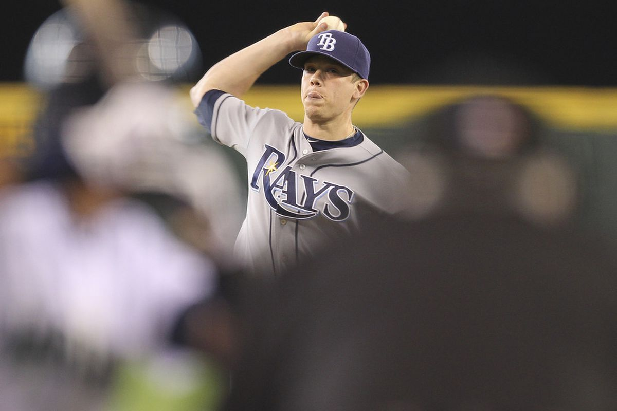SEATTLE - JULY 31:  Starting pitcher Jeremy Hellickson #58 of the Tampa Bay Rays pitches against the Seattle Mariners at Safeco Field on July 31, 2011 in Seattle, Washington. The Rays defeated the Mariners 8-1. (Photo by Otto Greule Jr/Getty Images)