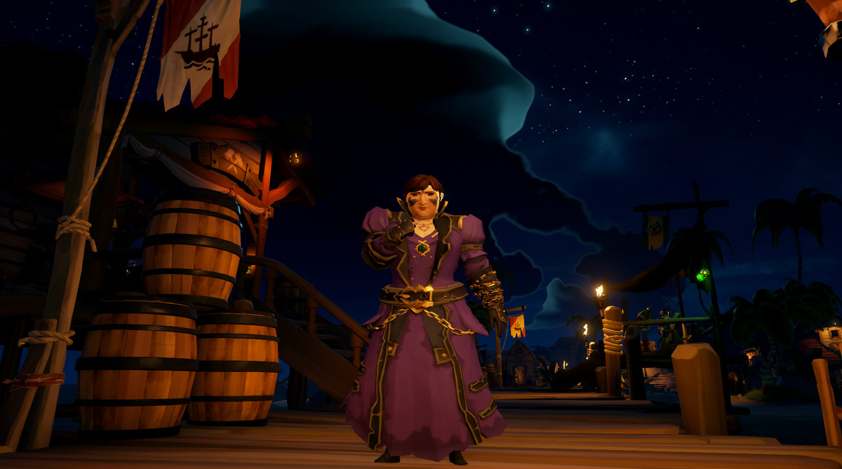 Image: Sea of Thieves - a player poses sadly on a dock.
