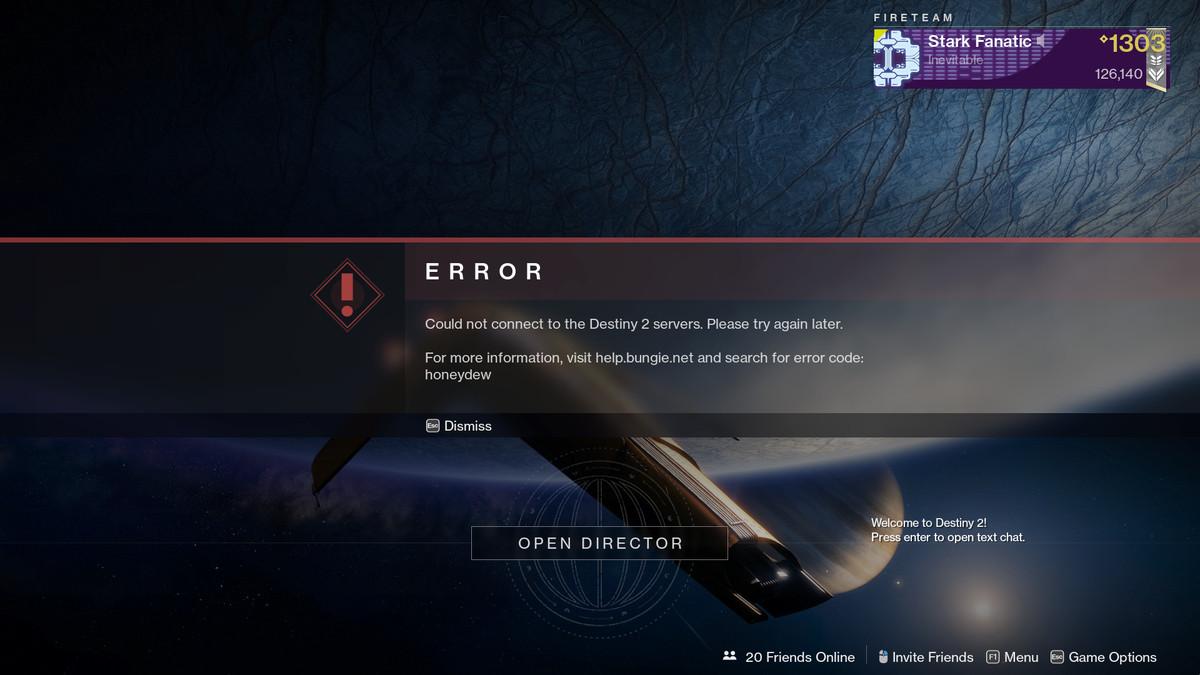 Destiny 2 Honeydew error