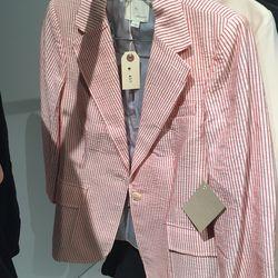 Pinstripe blazer, $150 (was $450)