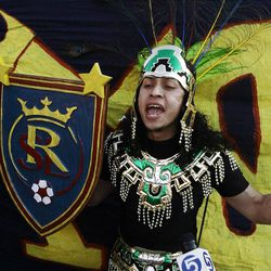 Real Salt Lake fan Luis Alarcon shouts as he arrives to the final game of the CONCACAF championship at Rio Tinto Stadium in Sandy Wednesday, April 27, 2011.