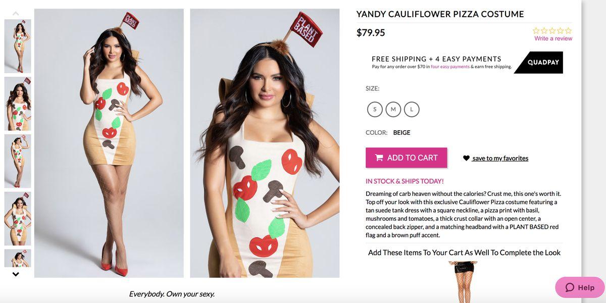 A woman wearing a cauliflower-themed dress.