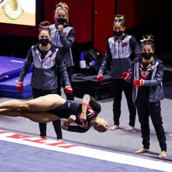 Utah's Sydney Soloski competes on the floor during a meet against Arizona at the Huntsman Center in Salt Lake City on Saturday, Jan. 23, 2021.