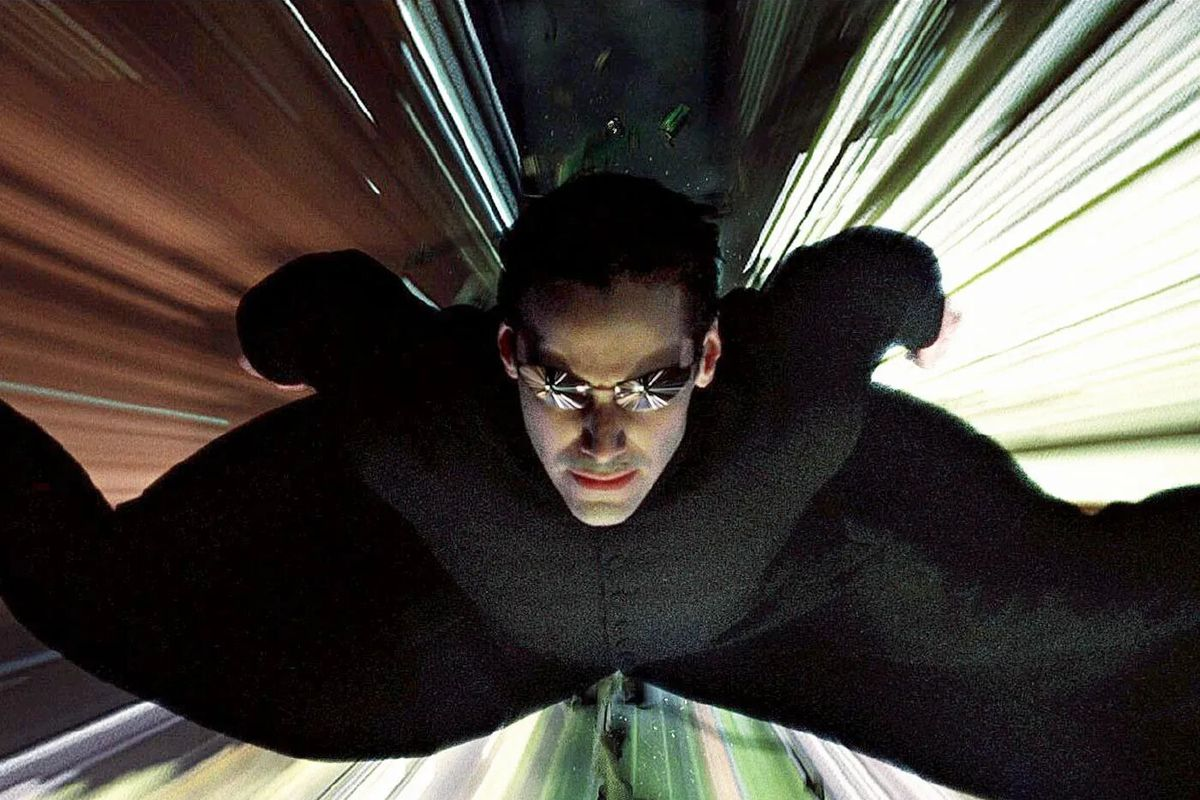 Neo flying to Trinity's rescue in The Matrix Reloaded