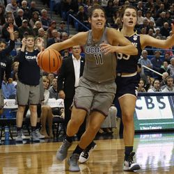 UConn's Kia Nurse (11) blows by Notre Dame's Kathryn Westbeld (33) during the Notre Dame Fighting Irish vs UConn Huskies women's college basketball game in the Women's Jimmy V Classic at the XL Center in Hartford, CT on December 3, 2017.