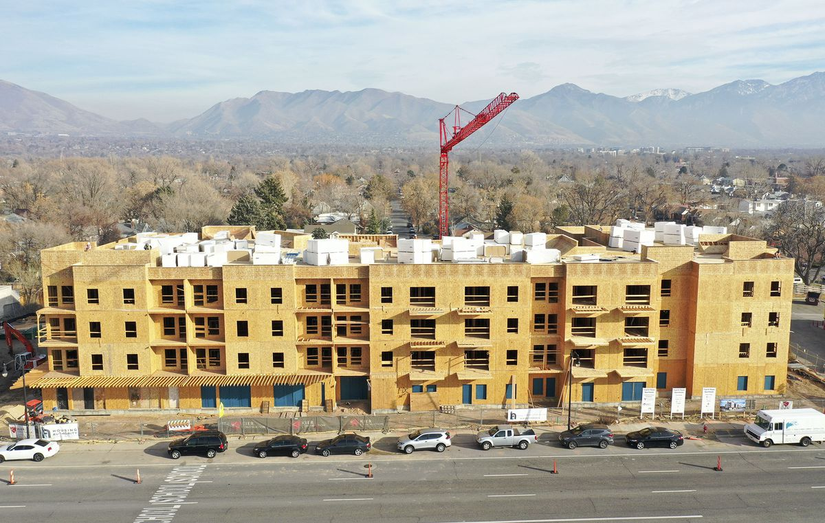 Construction continues on Capitol Homes Apartments, a mixed-income, mixed-use development at 1749 S. State in Salt Lake City on Dec. 9, 2020.