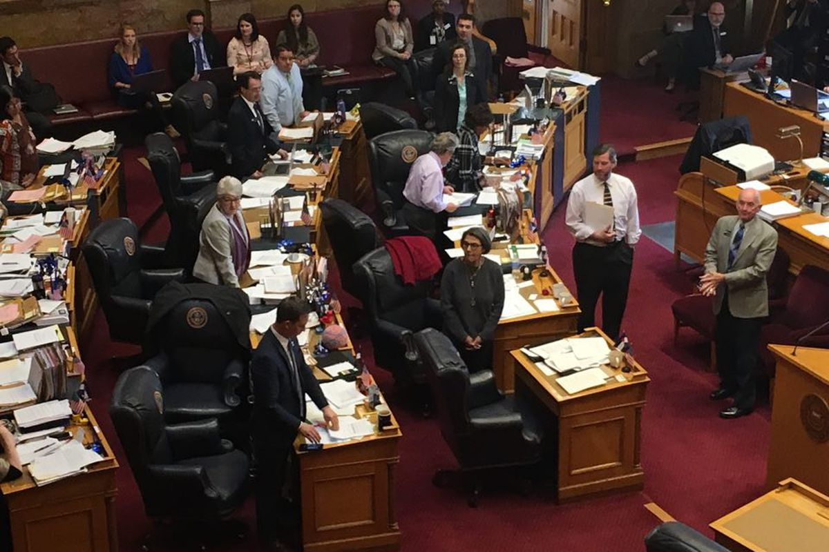 Colorado Senate Democrats stand to vote no on a budget amendment to add $35 million for school security. (Erica Meltzer/Chalkbeat)