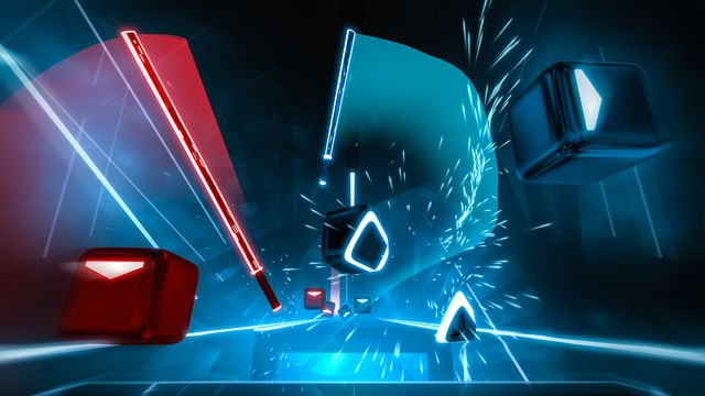 Beat Saber - a still from gameplay depicts a player slashing blocks with their sabers