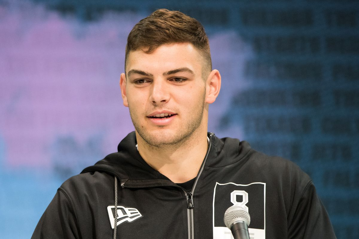 Notre Dame tight end Cole Kmet speaks to the media during the 2020 NFL Combine in the Indianapolis Convention Center.