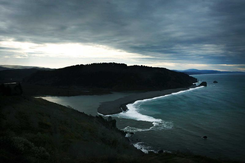 The mouth of the Klamath River viewed from the Klamath River Overlook.