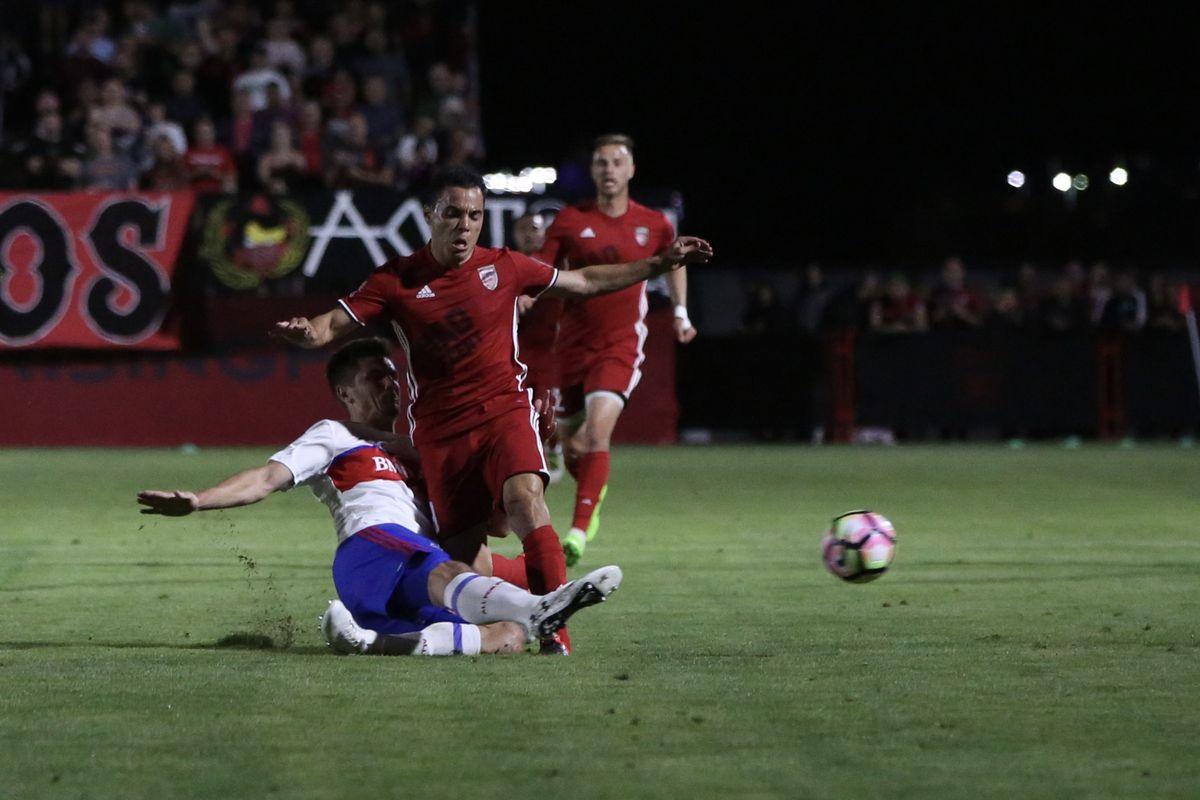 USL TFC II Aubrey's tackle a Phoenix attacker