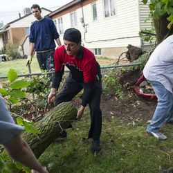 David McLaughlin, center, helps remove a log as Drew Griffin saws a fallen tree after a tornado struck Washington Terrace on Thursday, Sept. 22, 2016. Officials said nobody was injured in the twister.