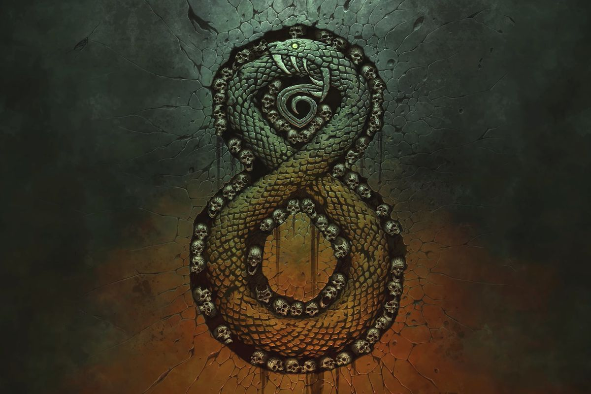 Artwork of the snake ouroboros from Warchief Gaming's Auroboros: Coils of the Serpent