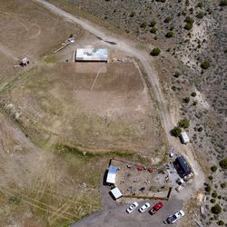 The Amphitheater at Studio Ranch in Tooele County is pictured from the air on Thursday, May 21, 2020. A controversial outdoor concert planned by Utah Business Revivalis being moved from Kaysville, but a Tooele County official says it's news to him.