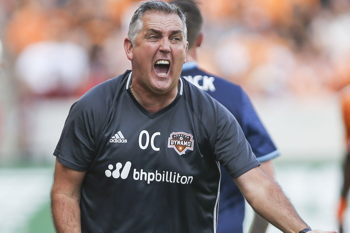 Dynamo head Coach Owen shows his frustration in his team's 1-1 draw against the Seattle Sounders Sunday at BBVA Compass Stadium.