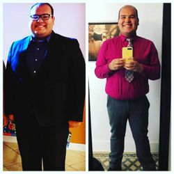 A before and after picture of Ismael Perez where he went from weighing 320 pounds to 240 pounds.