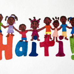In an Aug. 28, 2012 photo, a postcard designed by Sarah Cain, 14, to sell to raise money to buy children's books for kids in Haiti is seen at her home near Freeport, Ill.  Cain was adopted from Haiti when she was an infant.