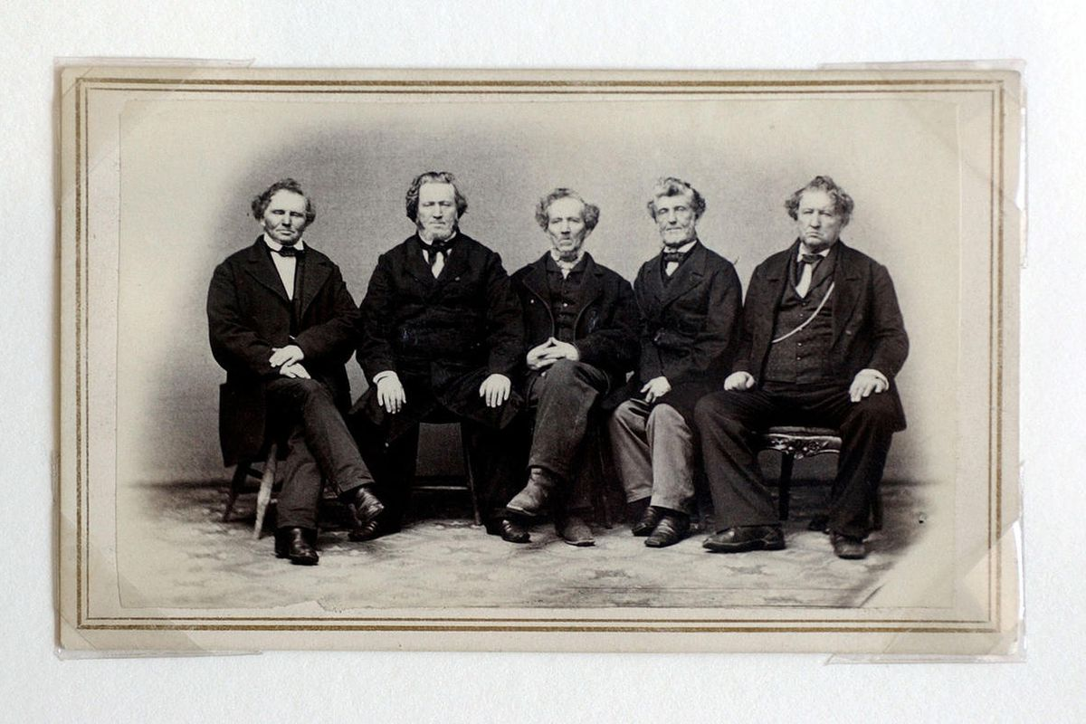 This is a photo of Brigham Young and his brothers taken in the 1860s by C.R. Savage.  They are, from left, Lorenzo Dow Young, Brigham Young, Phineas Howe Young, Joseph Young and John Young Jr.